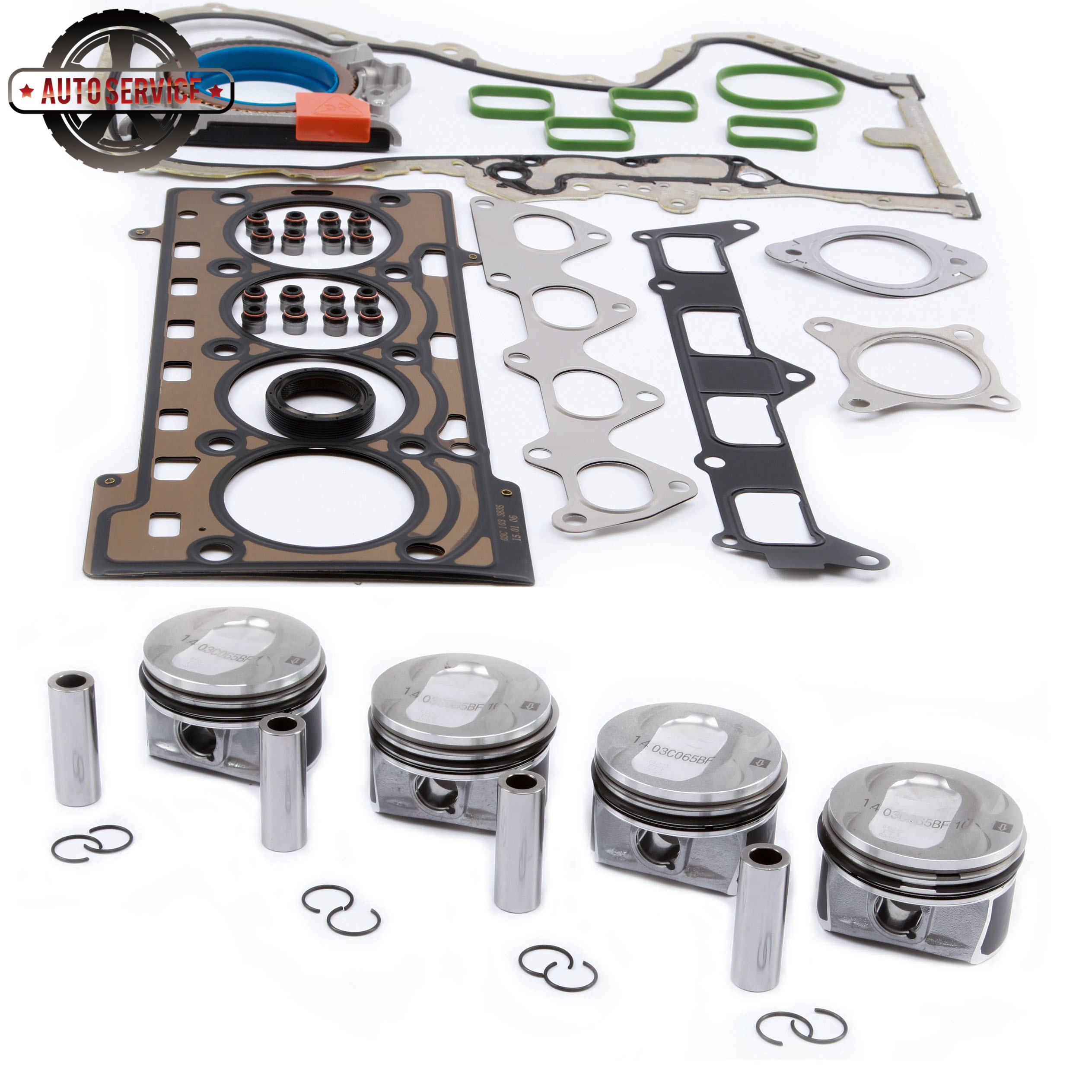 NEW 03C 198 151 M Piston Sets & Engine Gaskets Seals Repair Kit For Audi A1 VW Golf Jetta MK5 Tiguan Passat 1.4TSI 03C103383AH