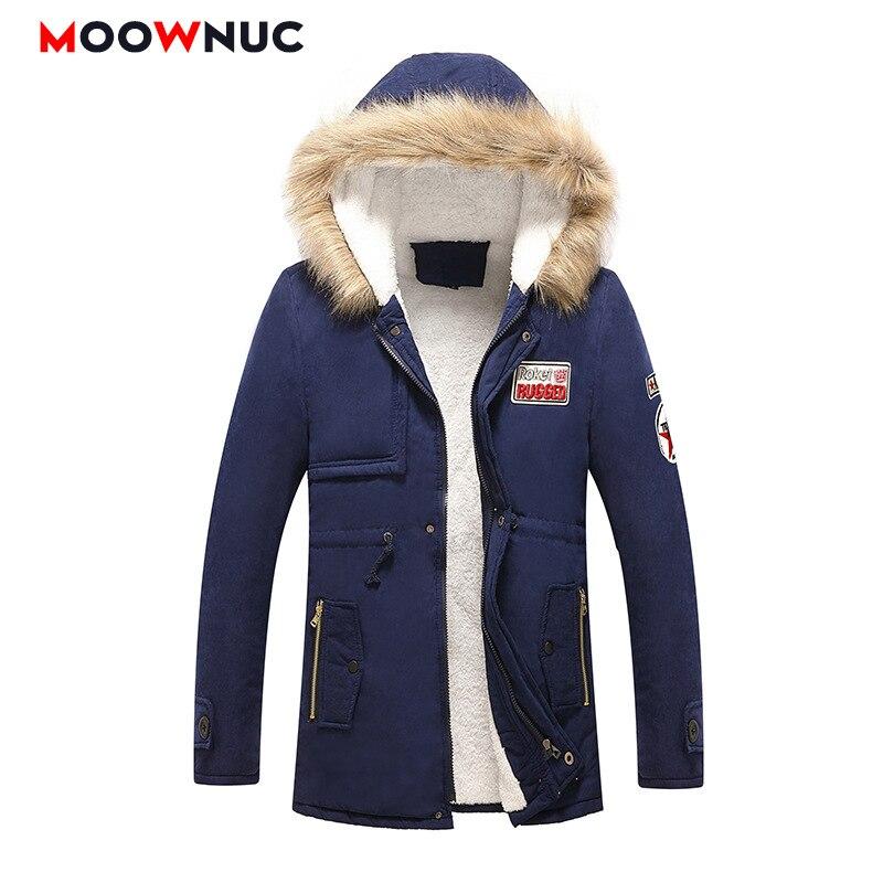 Windbreaker Thick Hombre Parkas Winter Jackets Coats Fashion Slim Men's Parkas Overcoat Mid-long Hats Casual Windproof MOOWNUC