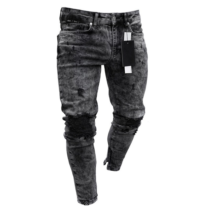 European Biker Jeans Men's Distressed Stretch Ripped Biker Slim Jeans Cotton Pants Zipper jeans Big Size S-4XL