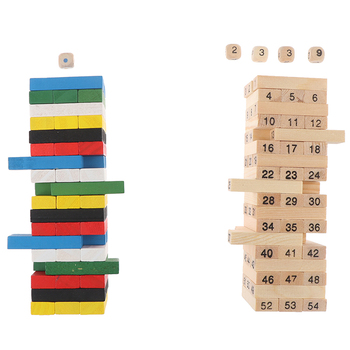 цена на Creative Novel Wooden Digital Jenga Building Block Brain Game Toy Fashion Children Entertainment Intelligence Interaction Toys
