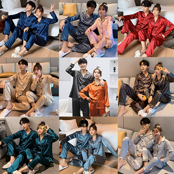 Spring And Autumn Silk Long Sleeve Couples Pajamas Suit Men And Women-Mix And Match-Multi-color Imitated Silk Fabric