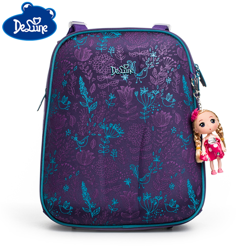 Delune Girls School Orthopedic Backpack Bags Cartoon 3D Printing Children Primary School Mochila Infantil