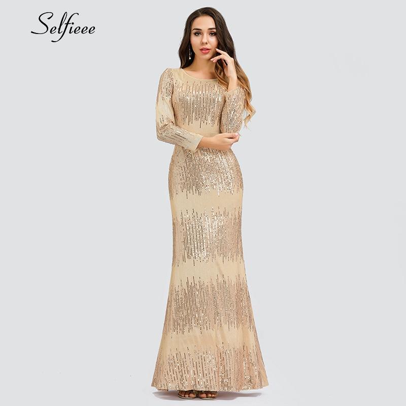 Robe Sexy en or Rose pour femmes robe longue à manches longues et col rond moulante Ladeis luxe robe longue scintillante pour les robes De fête De Festa 2019
