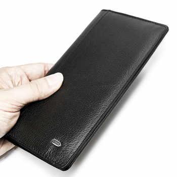 Thin Men\'s Wallets Genuine Leather Business Luxury Brand Design Slim Male Wallet Coin Card Holder Zipper Coin Pocket Men Purse