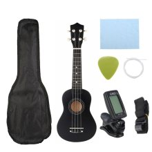 Ukulele Combo 21 Ukulele Black Sopraan 4 Strings Uke Hawaii Bas Snaarinstrument Set Kits + Tuner + String + Strap + Tas(China)