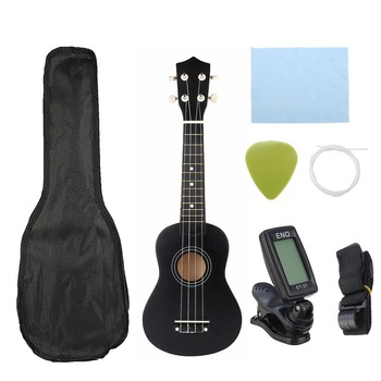 Ukulele combo 21 ukulele black soprano 4 string uke hawai bass stringed musical instrument set with tuner، string، strap and bag