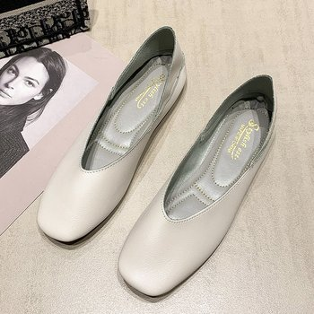 Square Toe Casual Flat Shoes Women 2020 New Shallow Mouth Gentle Style Spring And Autumn Students Fashion Single Shoes