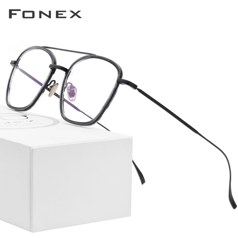 B Pure Titanium Glasses Frame Men 2018 Ultralight Acetate Women Square Spectacles Myopia Optical Prescription Eyeglasses