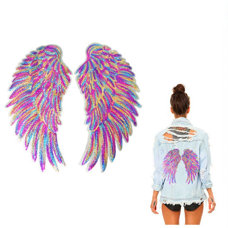 A Pair Of Rainbow Feathers, Wings, Sequins, Dreamlike Embroidery, Badge, Sewing Iron Patch, Clothes, DIY Decal Decoration