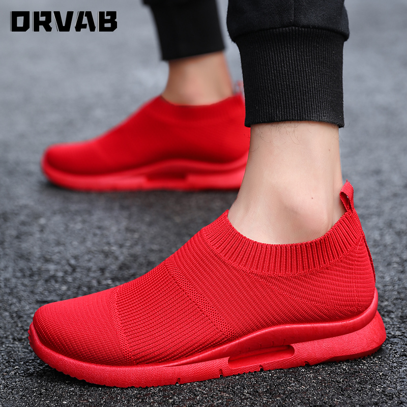 Men Sneakers 2020 Fashion Breathable Mesh Slip-On Men Shoes Summer Men Loafers High Quality Black White Red Male Socks Footwear