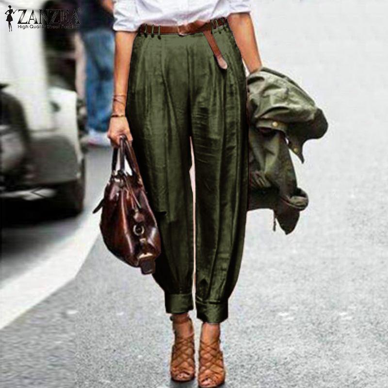 Plus Size ZANZEA Spring Solid Harem Pants Elegant Work OL Turnip Trousers Women Casual High Waist Long Lantern Pantalon Female