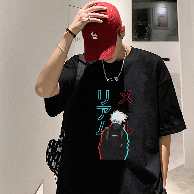 Tee Men Fashion Casual Punk Cartoon T-shirt Harajuku Kakashi Japanese Naruto Print Unisex Loose Hip Hop Vegan Vintage Weed Tops