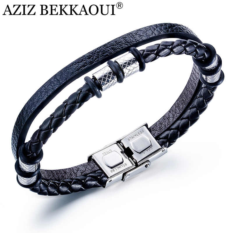 AZIZ BEKKAOUI Vintage Mens Leather Bracelet Leather Bangles for Men Cowhide Braided Multi Layer Wrap Bracelet Man Jewelry Gift