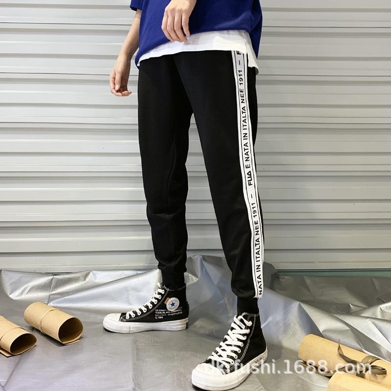 Casual Sports Capri Trousers Men's Spring And Autumn Elasticity Beam Leg Sweatpants Skinny White Edge Lettered Pants