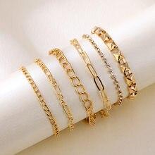 Novo simples jóias com ouro grosso e fino corrente de cristal artificial pulseira de 6 peças conjunto para presentes masculinos e femininos atacado