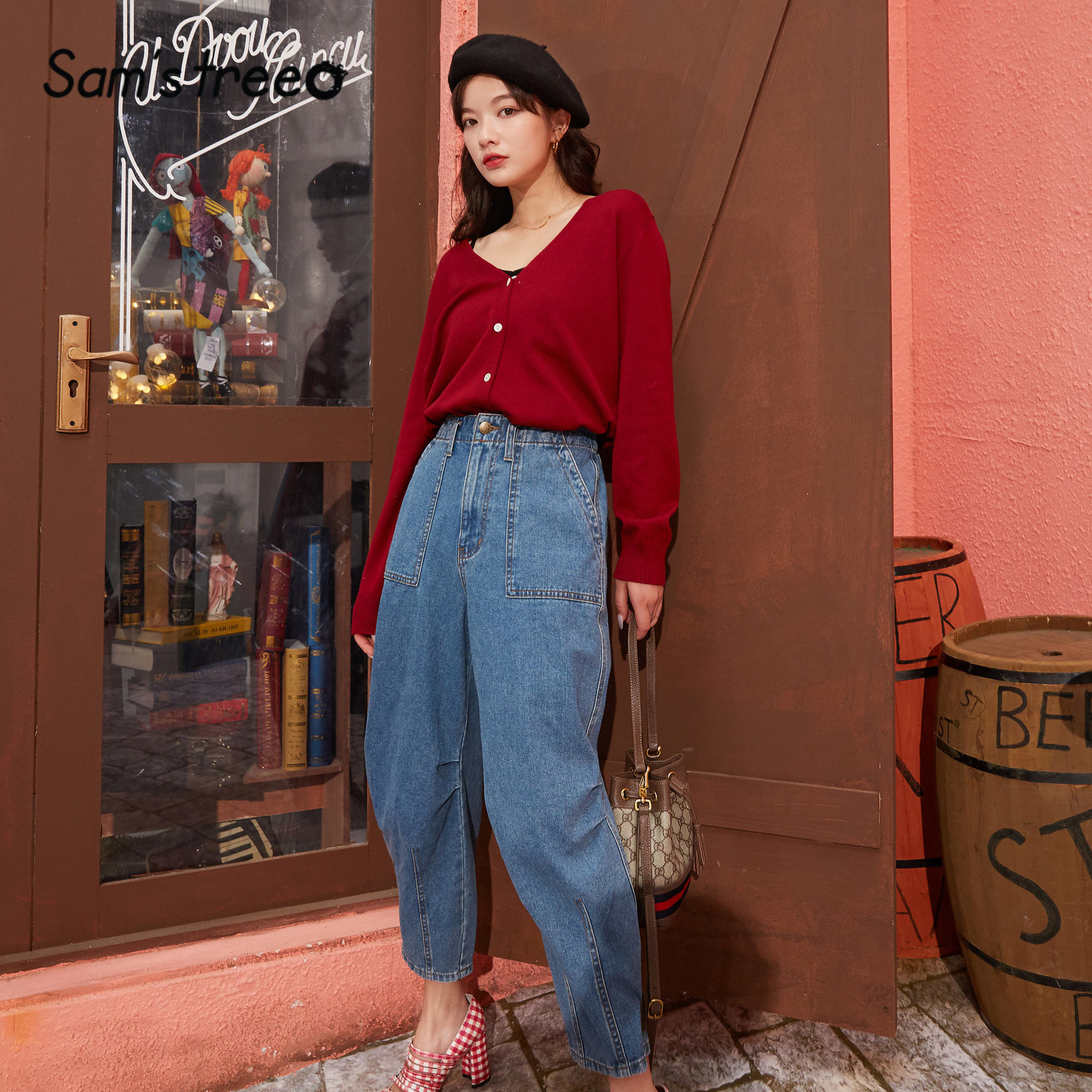 SAM'S TREE Blue Solid High Waist Washed Korean Jeans Women 2020 Spring Colorblock Applique Straight Casual Ladies Cargo Pants