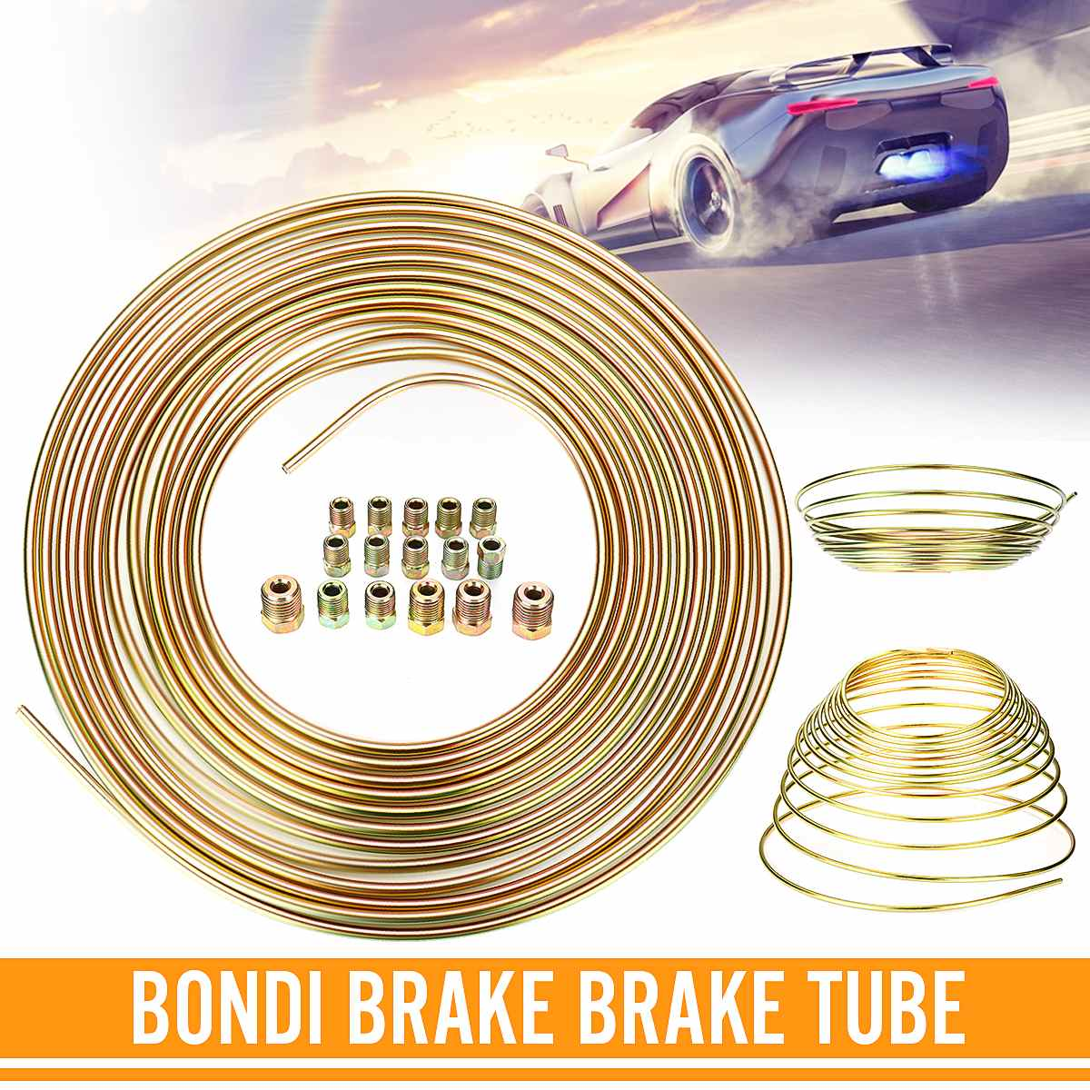 "High Strength 25ft Roll Of 3/16"" Plated Brake Line Tubing OD Copper Nickel With 16PCS Tube Nuts Brake Pipe Hose Line Piping Tube"
