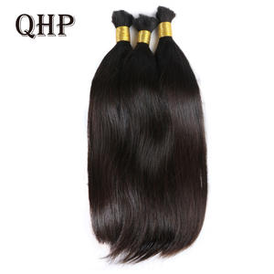 Natural-Black Bulk-Hair 100%Human-Hair Straight Virgin-Hair-Extensions 3pcs/Set Brazilian