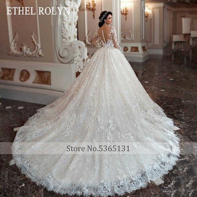 ETHEL ROLYN Lace Ball Gown Wedding Dress 2021 Long Sleeve Beading Appliques Vintage Bridal Princess Bride Dresses Robe De Mariee 3