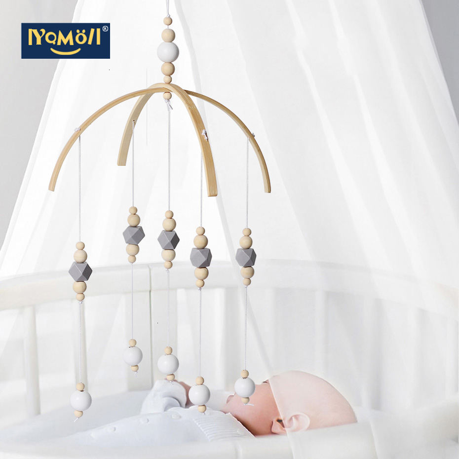 Nordic Baby Rattles Mobile Wooden Beads Wind Chimes Bell Toys For Kids Room Bed Hanging Decor Tent Decor Photography Props Gifts