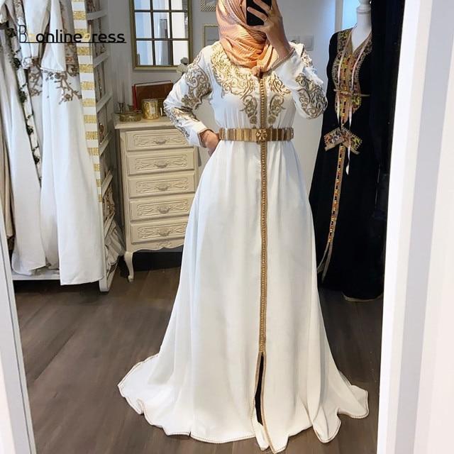 فستان سهرة بقفطان مغربي بأكمام طويلة وياقة عالية مطرز طويل عربي مسلم فستان رسمي رداء de soiree 2