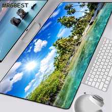 MRGBEST Large Size L Natural Rubber Lockedge Mouse Pad 90x40Cm Blue Sky and White Clouds Palm Tree for Game 2 Types of Mousepad