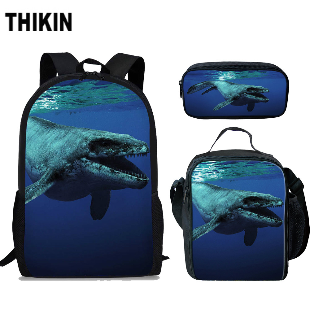 ThiKin Cool Mosasaurus Dinosaur 3D Print School Bag Set for Teenage Boys Children Kids Daily 3Pcs Book Bags Students Mochilas in School Bags from Luggage Bags