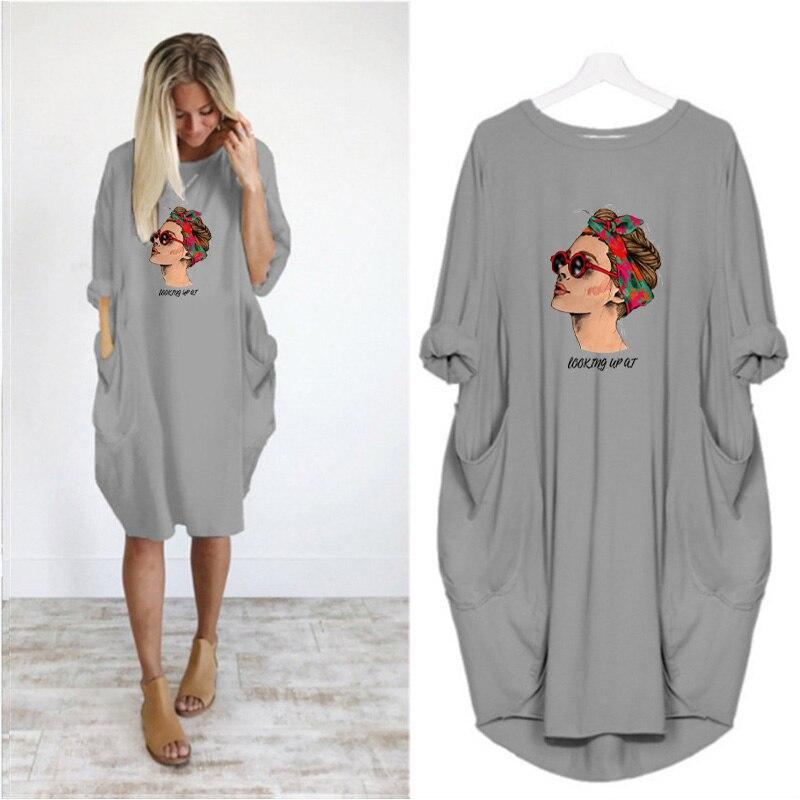 Купить женские платья с длинным рукавом и карманом круглым вырезом