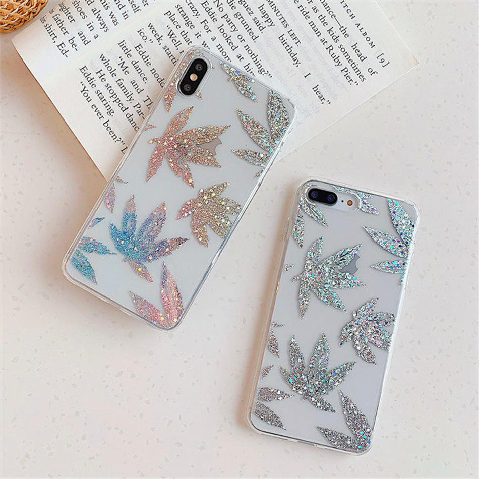 H772838c92ef440bbb5aac567f815ef37a USLION Glitter Gold Leaf Transparent Case For iPhone 11 Pro X XS Max XR 8 7 Plus 11 Clear Phone Back Cover Bling Pineapple Cases