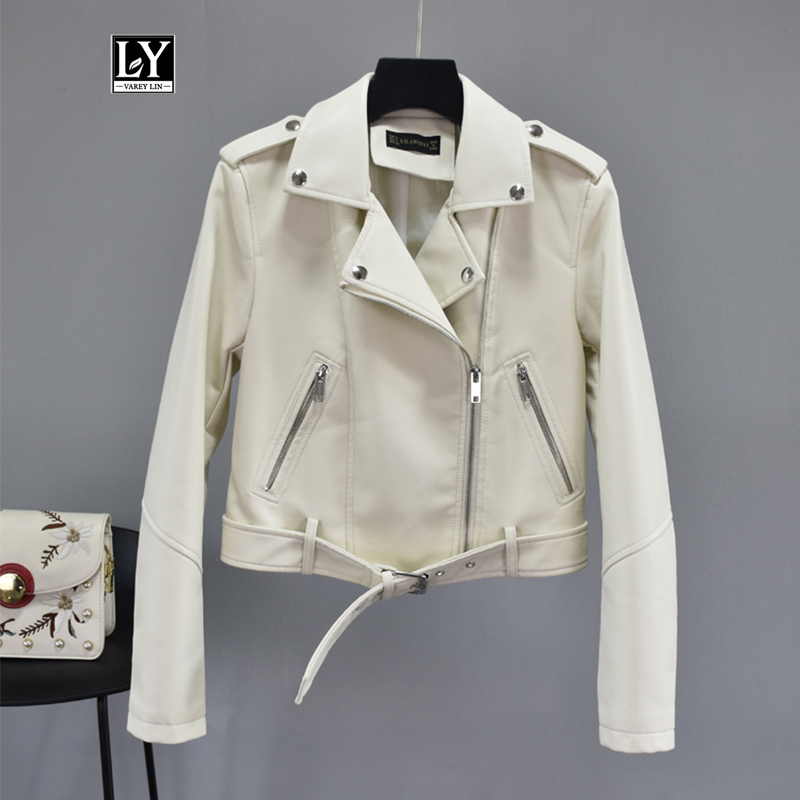 Ly Varey Lin Faux Soft Pu Leather Jacket Women Turndown Collar Motorcycle Zipper Basic Jackets Female Rivet Epaulet Biker Coats