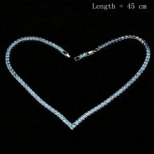 Image 5 - Himmel Blau Zirkonia Silber 925 Schmuck Sets Für Frauen Hochzeit Armband Anhänger Ohrringe Halskette Braut Schmuck Sets
