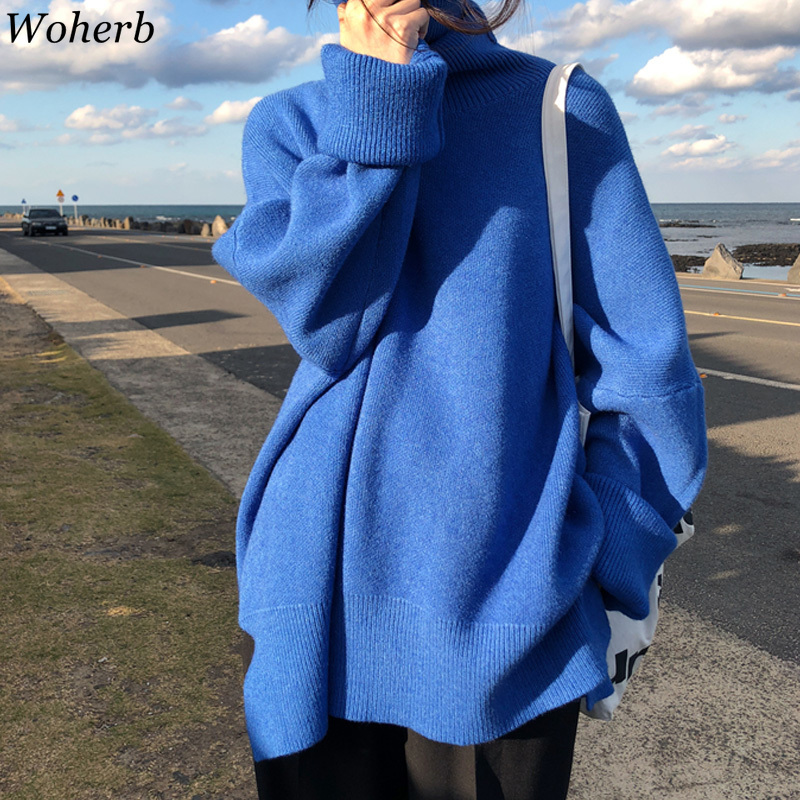 Woherb Oversized Turtleneck Pullover Sweater Women Korean Solid Jumper 2019 Autumn Winter Loose Pull Knitted Tops Sueter Mujer