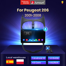 Junsun V1 4G + 64G Android 10 2 din radio coche con reproductor multimedia pantalla para Peugeot 206 Peugeot 2001-2008 Multimedia automóvil android auto/bluetooth/carplay/gps stock in spain