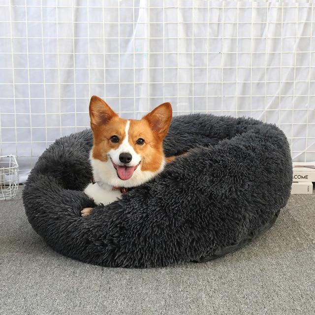 Soft Pet Dog Bed Round Washable Long Plush Dog Cushion 5