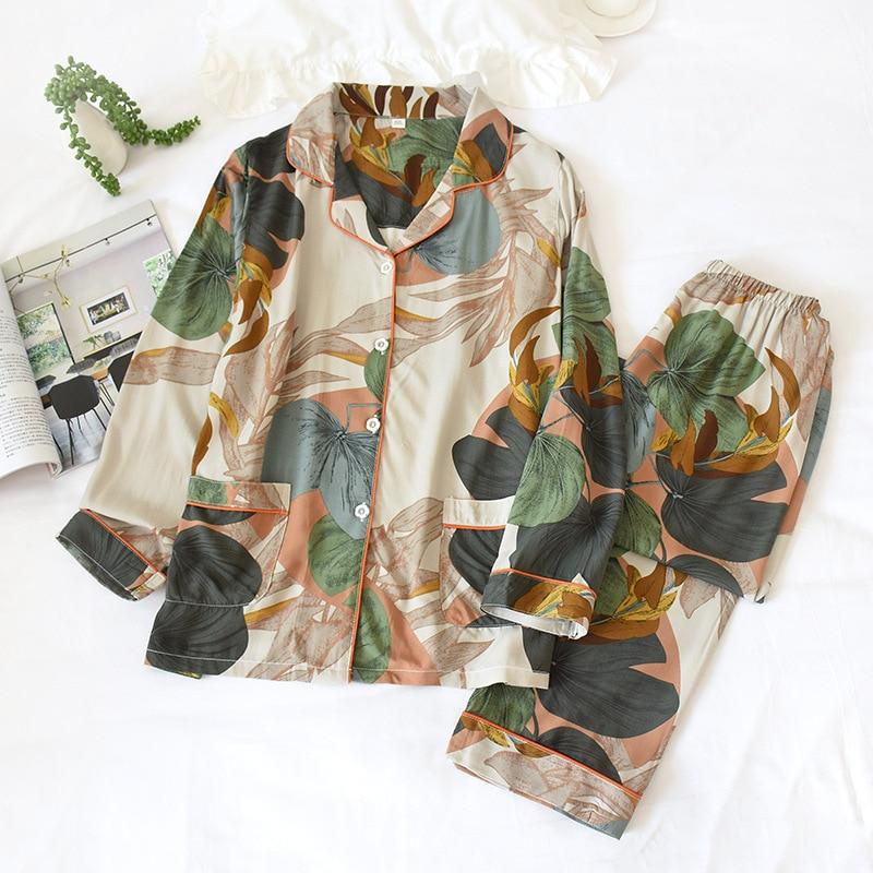 Women Long Sleeve Trousers Pajamas Turn-down Collar Viscose Printing Pyjamas Spring Loungewear Home Clothes 2 Piece Sleepwear