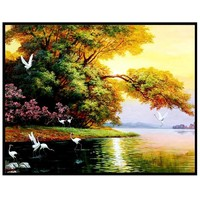 5D DIY Diamond Painting scenery print Embroidery natural Painting in reflection canvas Rhinestone bright color 30X25cm 67
