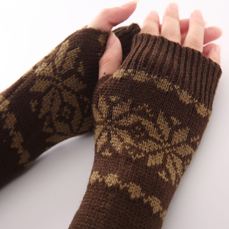 Winter Snowflake Pattern Arm Warm Knitted Fingerless Long Gloves For Women Girls 2XPC