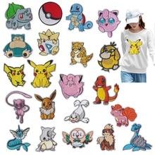 Забавные наклейки с покемонами мультяшная ткань, чем наклейки с вышивкой можно гладить утюгом и сшить DIY Детская одежда игрушки