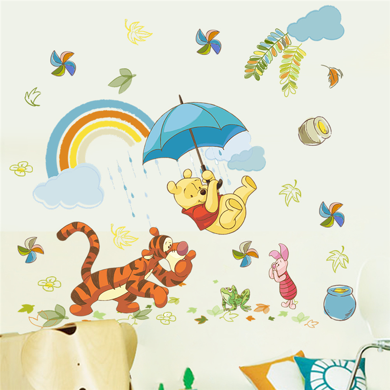Disney Winnie Pooh Wall Stickers Bedroom Nursery Home Decor Cartoon Animals Wall Decals Diy Mural Art Pvc Wallpaper Gifts in Wall Stickers from Home Garden