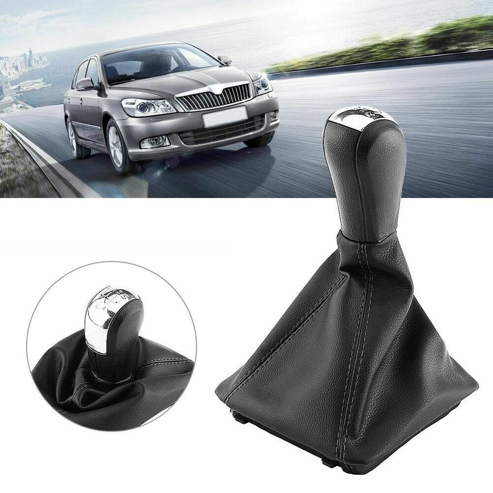 5 Speed Gear Shift Knob Shifter Lever Stick Gaiter Boot Cover For Skoda Octavia 2004-2008 2009 2010 2011 2012 Auto Accessories