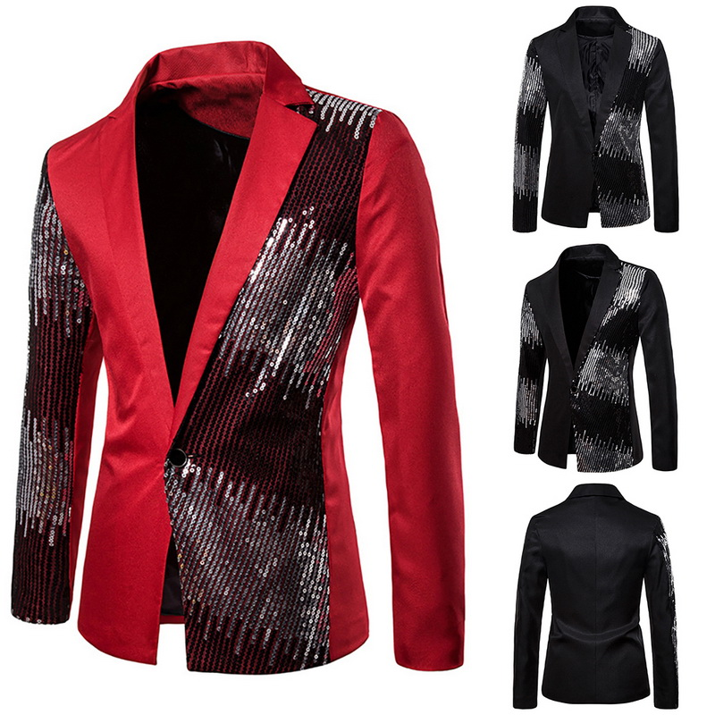Men's Slim Body Gradient Sequins Suit Large Size Groom Dress Stage Nightclub Performance Costumes Blazer