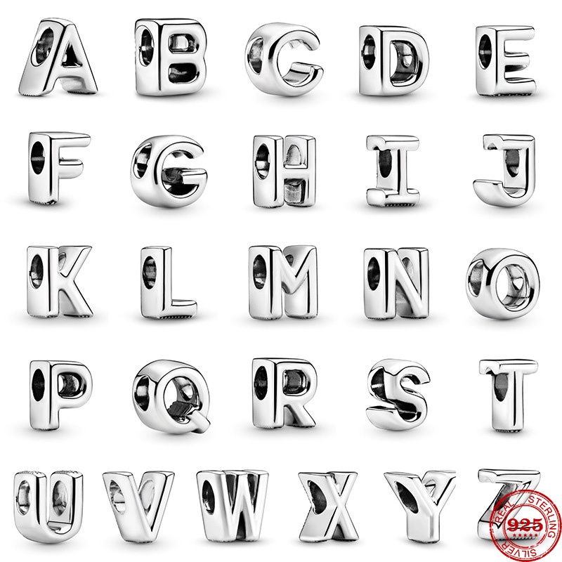 Fit Original Pandora Charms Bracelet 925 Sterling Silver A-Z 26 English Letters Charm Bead DIY Jewelry Making Berloque For women