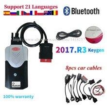 2021 NEW VCI 2017.R3 KEYGEN VD DS150E Cdp for Delphis Obd2 Car Truck Diagnostic Tool Scanner+8 Pcs Car Cables to choose