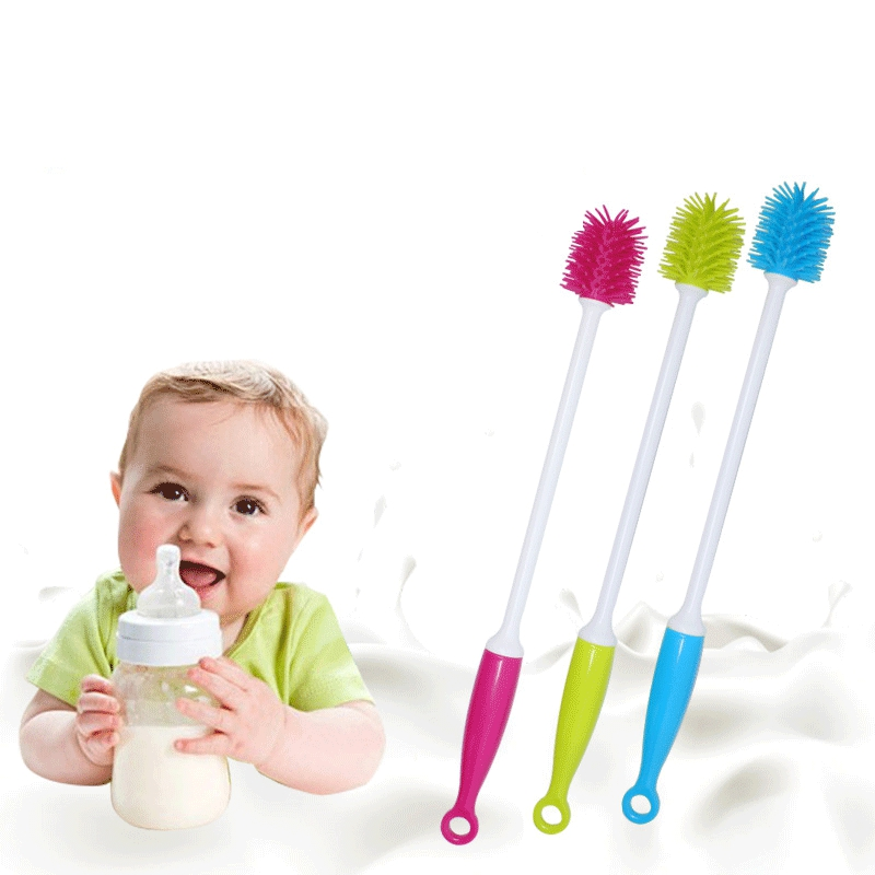 Baby Bottle Cleaning Brush Silicone Long Handle Wash Cup Brush Baby TPR Milk Bottle Brush Glass Cup Cleaner Heat-resistant Tool