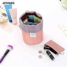 Barrel-shaped Makeup Bag Retractable Draw String Cosmetic Women Travel Multifunction Organizer Wash
