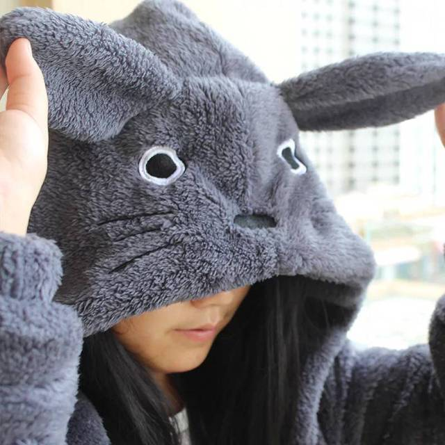 New Harajuku Totoro Kawaii Hoodie Sweatshirt My Neighbor Coat Cosplay Fleece Overcoat With Ears Harajuku Cute Jackets Christmas 2