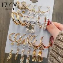 Pearl Hoop Earrings-Set Jewelry Circle Gold Metal Geometirc Fashion Women 17KM for Brincos