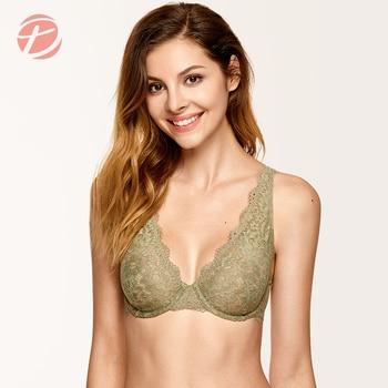 DOBREVA Women's Unlined Plunge Bralette Sexy Underwear Lingerie For Women Lace Underwire Bra 1