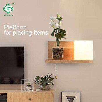 Wood LED Bedroom Wall Lamp Creative Living Room Loft Decor Simple Nordic Aisle Bedside Corrior Home Hotel Light