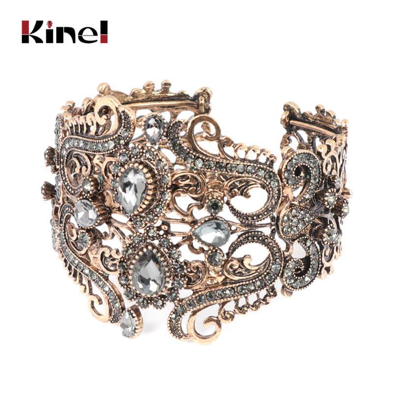 Kinel Vintage hint geniş gri kristal çiçek manşet bileklik kadınlar için antik altın bahar bilezik türk düğün takısı